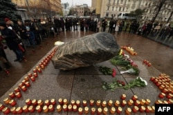 În 2016 la monumentul memorial din Piața Lubianka de la Moscova