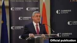 Belgium - Armenian President Serzh Sarkisian speaks at Carnegie Europe think-tank in Brussels, 28Feb2017.