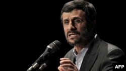 President Mahmud Ahmadinejad delivers a speech during a ceremony to mark National Nuclear Day in Tehran on April 9.