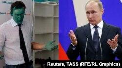 Алексей Навальный и Владимир Путин. Коллаж
