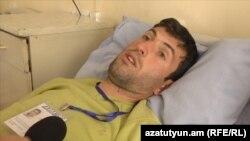 Բռնության ենթարկված լրագրող Տիրայր Մուրադյանը հիվանդանոցում, 19-ը ապրիլի, 2018 թ․