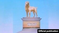 """Проект памятника, скриншот из видеопрезентации мэра Ашхабада, опубликовано официальным агентством """"Хроники Туркменистана"""""""