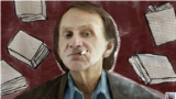 Michel Houellebecq with tobacco pictogram