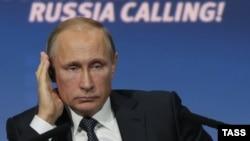Ռուսաստանի նախագահ Վլադիմիր Պուտինը ներդրումային համաժողովի ժամանակ, Մոսկվա, 13-ը հոկտեմբերի, 2015թ․