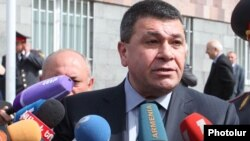 Armenia - Armenian police chief Vladimir Gasparian talks to journalists in Yerevan, 15Mar2013.