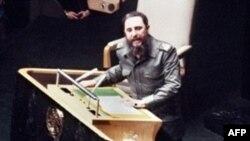 Фідэль Кастра выступае ў ААН (фота 1979 году)