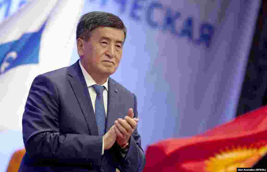 На съезде СДПК, который выдвинул Сооронбая Жээнбекова в президенты. Бишкек, 15 июля 2017 года.