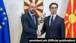 Претседателот на Европскиот совет, Шарл Мишел и претседателот на РСМ Стево Пендаровски