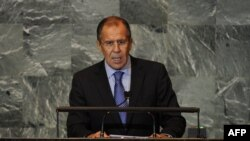 U.S. - ussian Foreign Minister Sergey Lavrov addresses the 66th General Assembly at the United Nations in New York, 27Sep2011