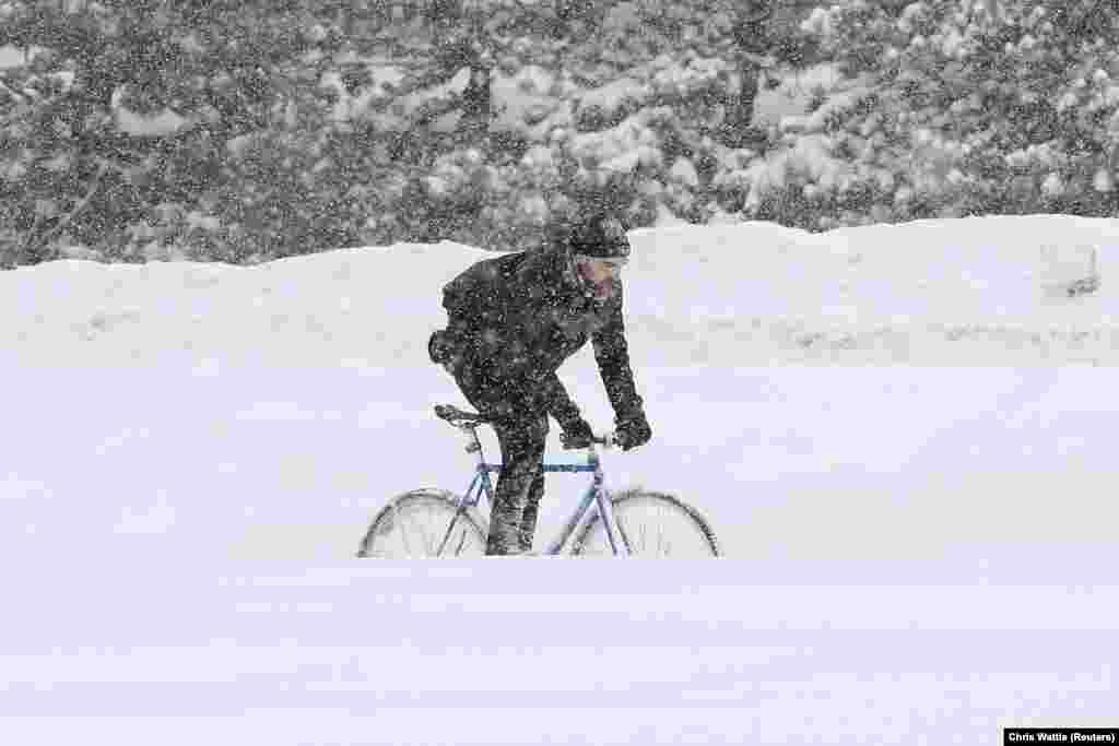 A man bikes during a winter storm in Ottawa, Canada. (Reuters/Chris Wattie)