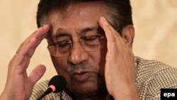 Pervez Musharraf gestures during a press conference in Karachi in March.