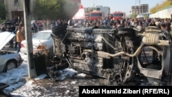 آثار تفجير قرب مبنى محافظة أربيل