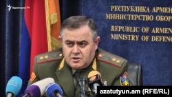 Начальник Генштаба ВС Армении Артак Давтян на пресс-конференции, Ереван, 26 декабря 2019 г.