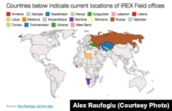Current locations of IREX Field offices