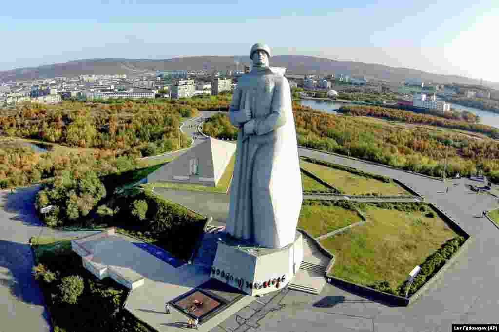 The Monument To Defenders Of The Soviet Arctic in Murmansk, Russia. The 35-meter-high statue of a soldier is commonly called Alyosha by locals.