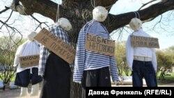 """Перформанс активистов движения """"Весна"""" в Петербурге, 7 мая 2018"""