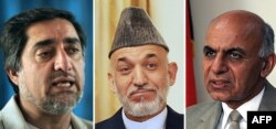 A combined photo of outgoing Afghan President Hamid Karzai flanked by presidential candidates Abdullah Abdullah (left) and Ashraf Ghani (right)