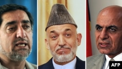 Outgoing Afghan President Hamid Karzai (center) flanked by presidential candidates Abdullah Abdullah (left) and Ashraf Ghani