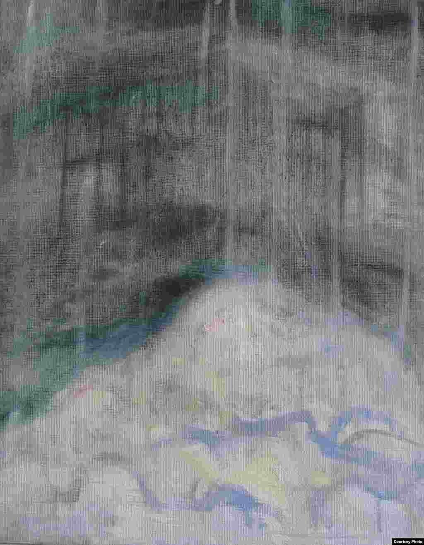 """Aus der Serie Eigenzeitliche Betrachtungen""""Wolke und Käfig"""" (""""ღრუბელი და გალია"""") Öl und Tempera auf Leinwand, 30 x 24 cm, 2016"""