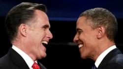 АҚШ-тағы президент сайлауына түсіп жатқан Митт Ромни (сол жақта) мен оның қарсыласы Барак Обама. Денвер, 3 қазан 2012 жыл.