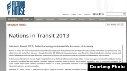 Nations in Transit 2013 screenshot of Freedom House report