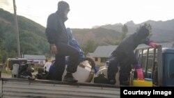 Базар-Коргондо карантинге алынган айылдарды дезинфекциялоо учуру.