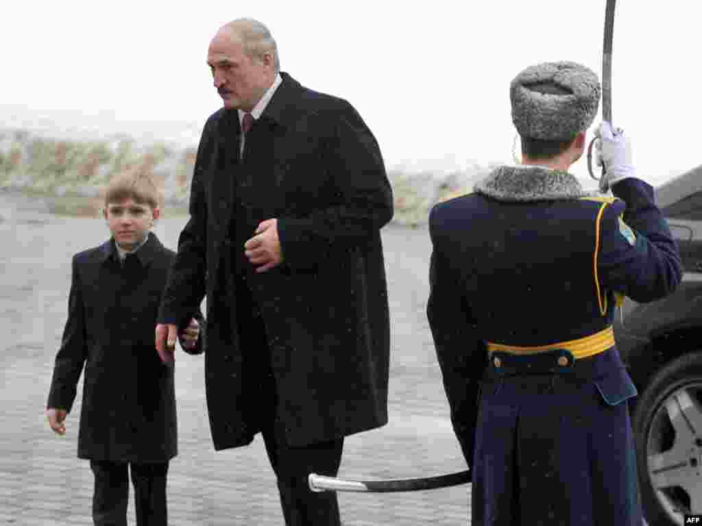 Lukashenka and Kolya arrive to attend his swearing-in at the Palace of the Republic in Minsk on January 21, 2011.