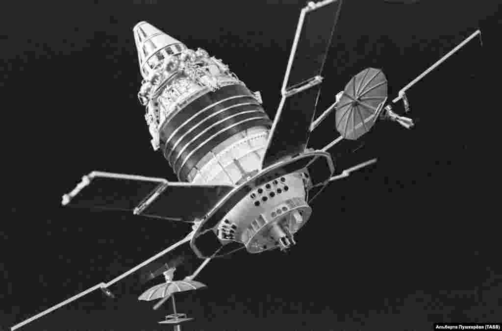 The Soviet Molniya 1 satellite was designed for military communications and required a massive rocket in 1965 to heave the 1.5-ton satellite into clear space where its petal-like solar panels could unfold.