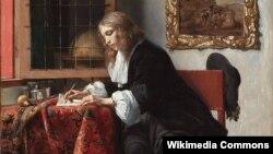 Габрыэль Мэтсю, «Мужчына піша ліст» (1666).