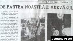 """Pagină din """"Moldova suverană"""" din 2001"""