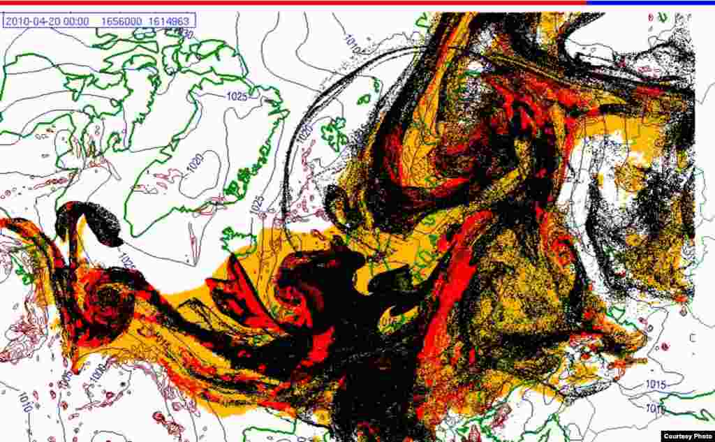 Projected spread of Icelandic ash cloud (20.4. 0000 UTC) - These images show a projection of the movement of the ash clouds from the Iceland volcanic eruption moving over Europe. The colors on the map represent: yellow: ash that has fallen by itself red: ash that has fallen by precipitation black: the actual ash cloud Source: Norwegian Meteorological Institute