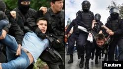Задержание на антиправительственном протесте в Алматы (слева) и задержание в Москве во время митинга «за справедливые выборы».