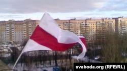 Сьцяг у раёне праспэкта Будаўнікоў