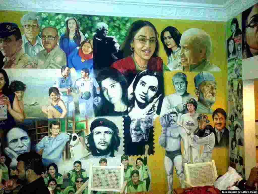 At the Roadside Cafe in Karachi, an artist's mural celebrates prominent Pakistani figures.