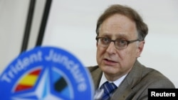 NATO Deputy Secretary-General Alexander Vershbow speaks during a news conference to launch a NATO military exercise at the Birgi air base in Trapani, Italy, on October 19.