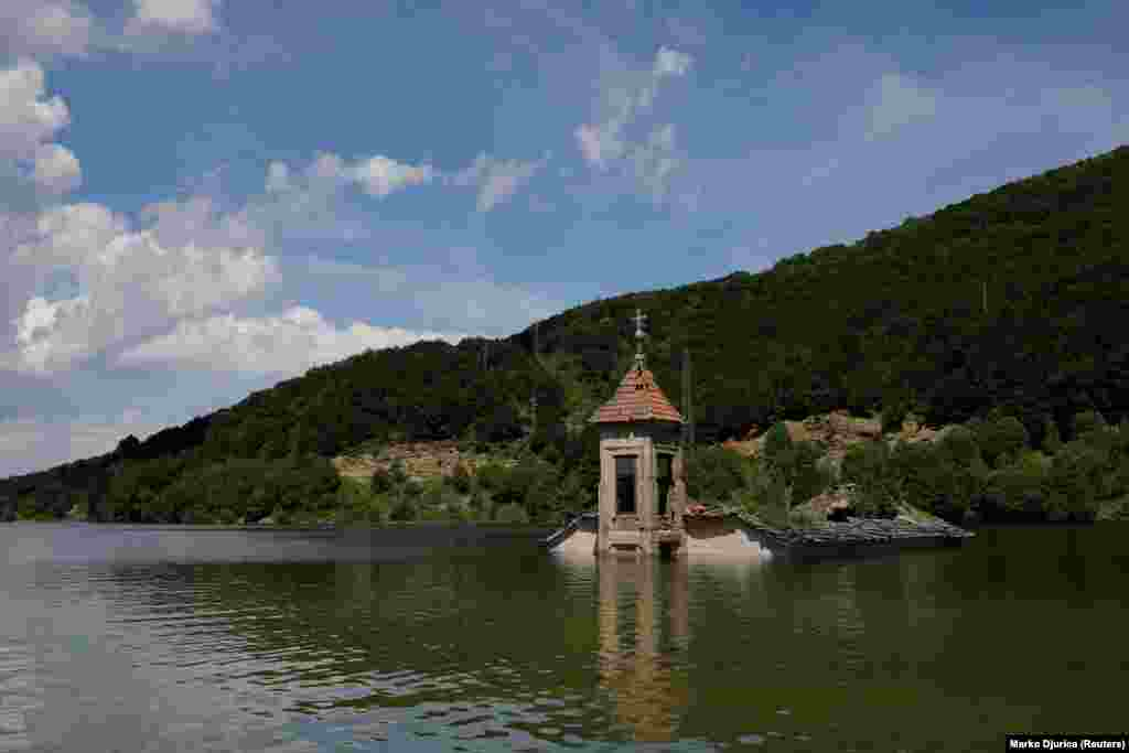 The flooded Church of St. Nicholas, in Macedonia's Mavrovo Lake.