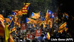 Demonstrație la Barcelona, în favoarea independenței Cataloniei, 11 septembrie 2017