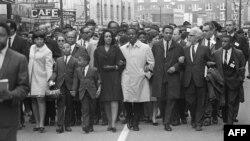 Марш сторонников Кинга после его убийства в 1968 году.