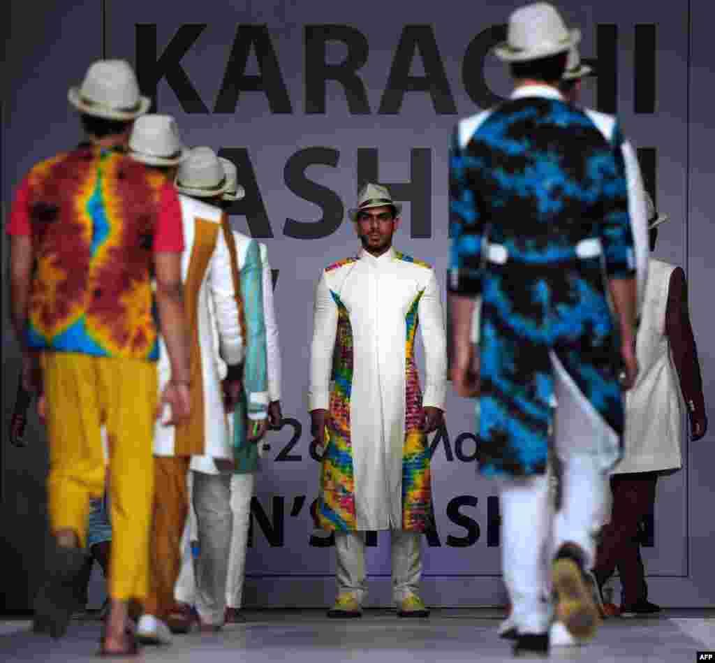 Models showcase work by another Pakistani designer, Yasheer.