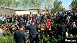 Полиция качакларны туктатып автобуслар белән лагерьга алып китергә тырыша, 2015 елның 17 сентябре