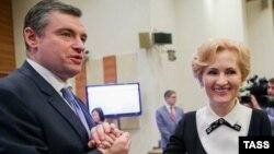 Леонид Слуцкий и Ирина Яровая в Думе