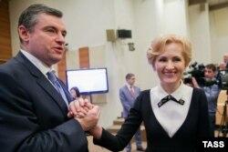 Леонид Слуцкий и Ирина Яровая, коллеги
