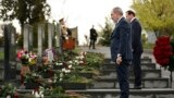 Armenia - Prime Minister Nikol Pashinian and Defense Minister Davit Tonoyan pay tribute to the memory of heroes of 2016 April war, Yerablur military cemetery, Yerevan,02Apr,2020