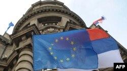 Zastava EU i Srbije, Beograd