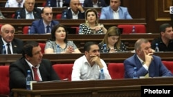 Armenia -- Deputies from the opposition Prosperous Armenia Party attend a parliament session in Yerevan, June 19, 2019.