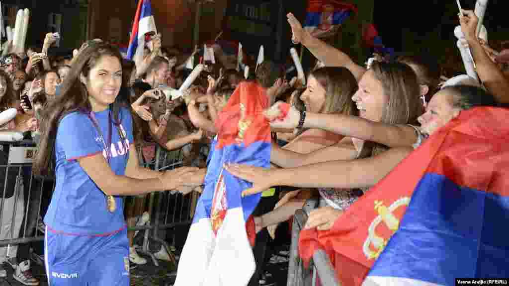 Milica Mandić, olimpijska šampionka osvojila je zlatnu medalju u tekvondou, Beograd, 14. august 2012.