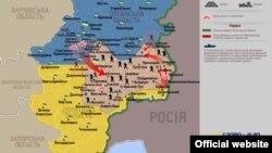 6 июлга қадар Украина шарқидаги вазият акс этган харита.