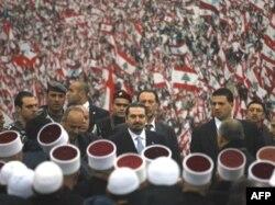 حریری در مراسم ترور پدرش؛ مرکز بیروت