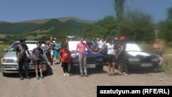 Armenia - Residents of Ardvi village protest against a private company's plans to mine gold in the area, 26Jul2017.