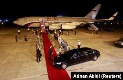 Putin's plane arriving in New Delhi in 2018.